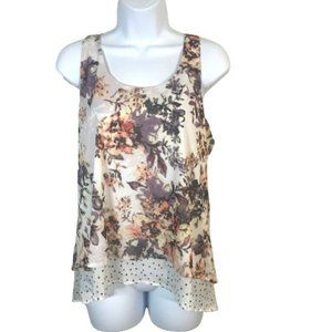 Maurices Mixed Media Floral Polka Dot Layered Sleeveless Top White Racerback L